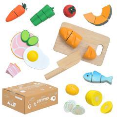 さくさく切れるマジックテープ仕様 ままごとセット おままごとセット ままごとグッズ おままごとグッズ 木製 食材 食べ物 たべもの 家事 子供 子ども フードセット coromo(コロモ) 充実の15点セット