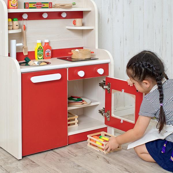 組立品 ままごとキッチン おままごとキッチン ママごと 知育玩具 おもちゃ Mini Cook4(ミニクック4) グレー