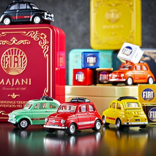 お取り寄せ(楽天) Web限定!バレンタインチョコ FIAT チョコレート・ミニカーセット缶 マイアーニ 価格2,970円 (税込)