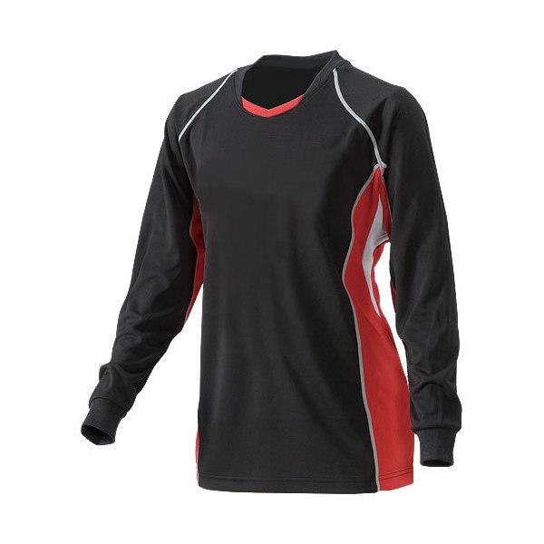 (セール)SPORTS AUTHORITY(スポーツオーソリティ)バレーボール ゲームユニフォーム 長袖ゲームシャツ S09-52-033 BK/RD/SLV BLACK/RED