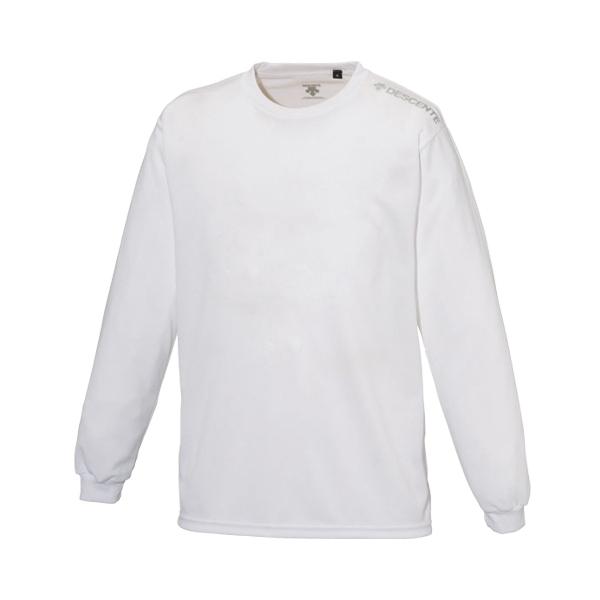 (セール)DESCENTE(デサント)バレーボール 長袖Tシャツ 吸汗速乾 長袖 ワンポイントシャツ DOR-B5965 WHT メンズ WHITE
