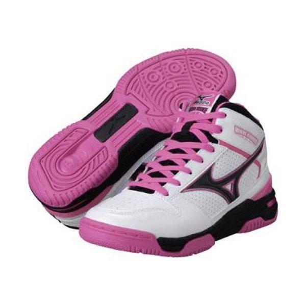 (セール)MIZUNO(ミズノ)バスケットボール ジュニア シューズ WAVE ROOKIE BB3 13KL37064 ジュニア ホワイトxピンク