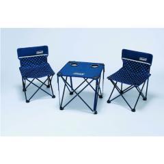(セール)COLEMAN(コールマン)キャンプ用品 キッチンテーブル 一体型テーブル チェア・テーブルセット ネイビードット 2000014040