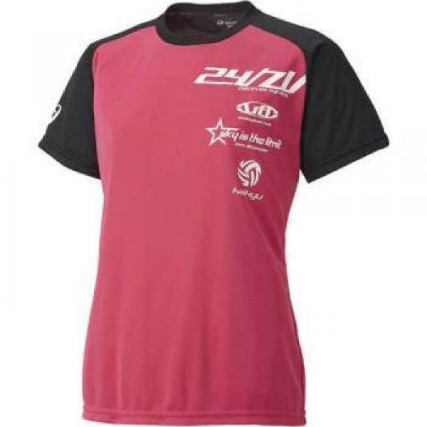 (セール)ASICS(アシックス)バレーボール 半袖プラクティスシャツ バレーボール ウェア プラシャツHS レディース XW764N 1890 レディース RED