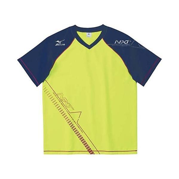 (セール)MIZUNO(ミズノ)バレーボール 半袖プラクティスシャツ 半袖プラクティスシャツ クロスシャツ V2MC502037 ライムグリーンxD.ネイビー