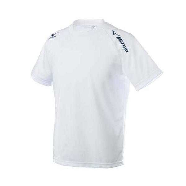 (セール)MIZUNO(ミズノ)バレーボール 半袖Tシャツ TSAハンソデプラクティスシャツ V2MA518001 ホワイトxネイビー