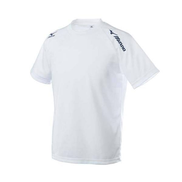 MIZUNO(ミズノ)バレーボール 半袖Tシャツ TSAハンソデプラクティスシャツ V2MA518001 ホワイトxネイビー