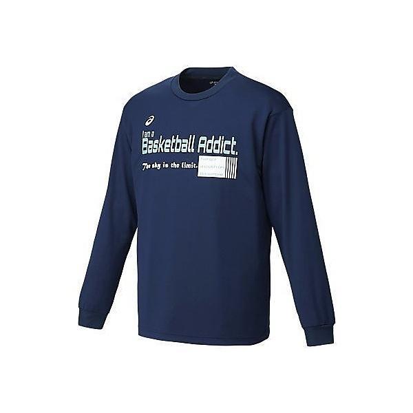 (セール)ASICS(アシックス)バスケットボール メンズ 長袖Tシャツ プリントTシャツLS XB973N.50A メンズ ネイビーA