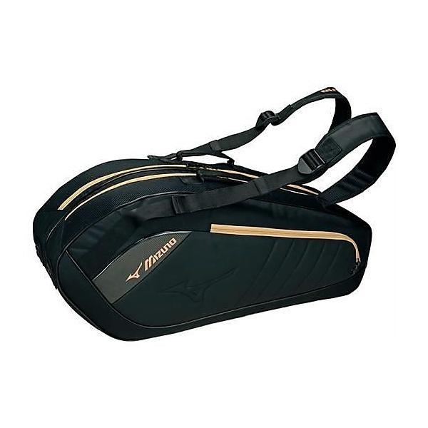 (セール)(送料無料)MIZUNO(ミズノ)ラケットスポーツ バッグ ケース類 ラケットバッグ6 63JD600409 ブラックxゴールド