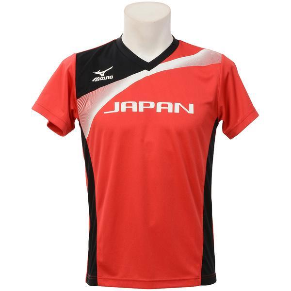 MIZUNO(ミズノ)バレーボール 半袖プラクティスシャツ ゼンニホンオウエンTシャツ V2JA608062 レッド