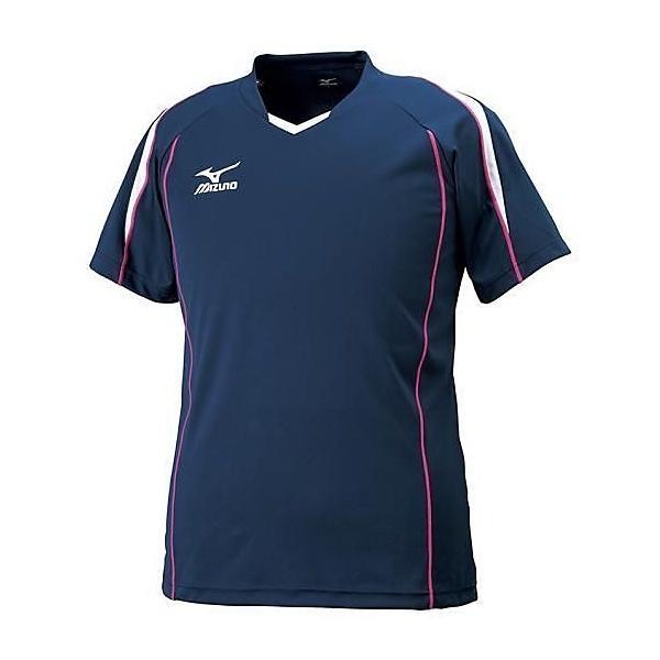 MIZUNO(ミズノ)バレーボール 半袖プラクティスシャツ プラクティスシャツ V2MA608714 ネイビーXホワイト