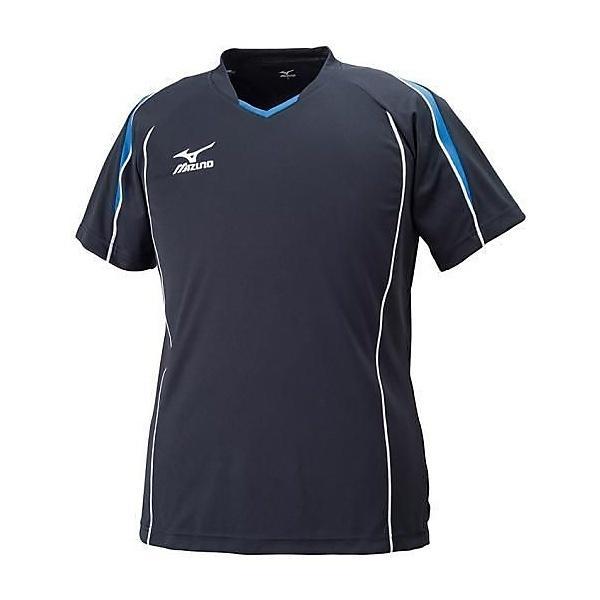 MIZUNO(ミズノ)バレーボール 半袖プラクティスシャツ プラクティスシャツ V2MA608792 ブラックXブルー