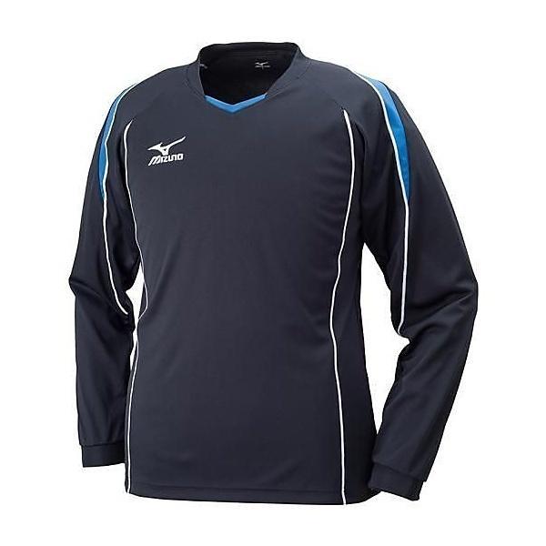 (セール)MIZUNO(ミズノ)バレーボール 長袖プラクティスシャツ ナガソデプラクティスシャツ V2MA609792 ブラックXブルー
