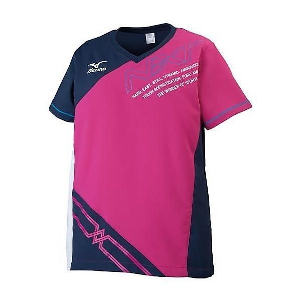 (セール)MIZUNO(ミズノ)バレーボール ウェア クロスシャツ V2JC620264 レディース ベリーピンクxブラック
