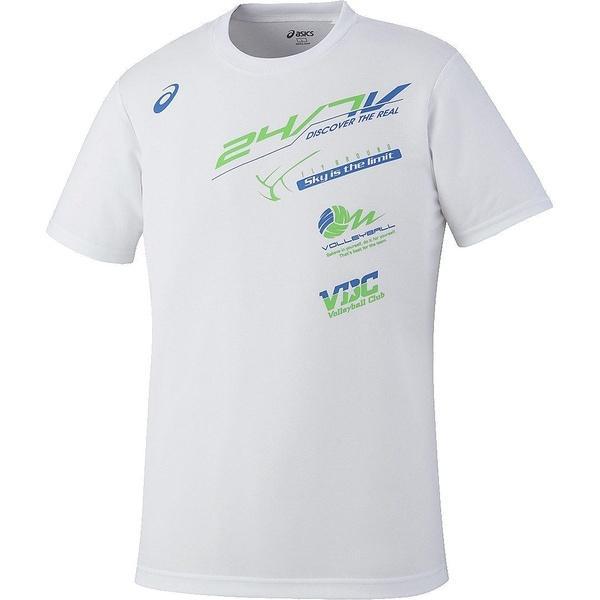 (セール)ASICS(アシックス)バレーボール 半袖プラクティスシャツ プリントTシヤツHS XW685N.01 WHT