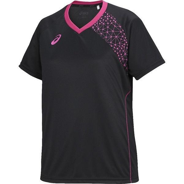 (セール)ASICS(アシックス)バレーボール 半袖プラクティスシャツ WSプラシャツHS XW6199.9017 レディース BLK/PNK