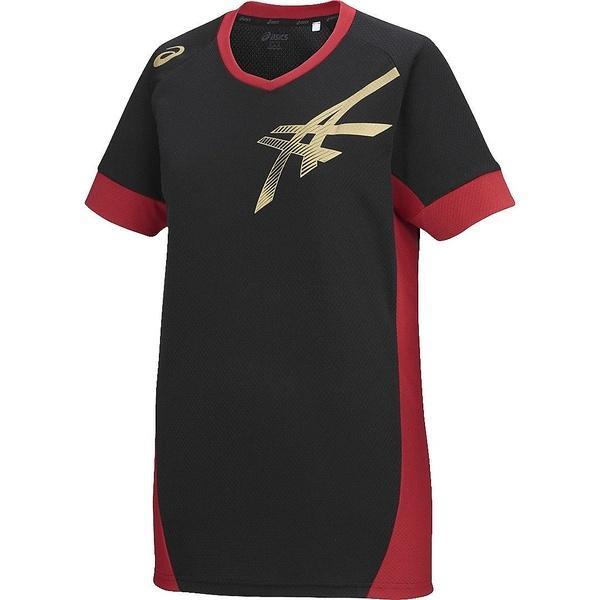 (セール)ASICS(アシックス)バレーボール 半袖プラクティスシャツ プラシヤツHS XW6619.9024 BLK/RED