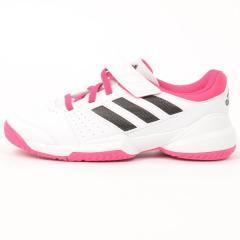 (セール)adidas(アディダス)テニス バドミントン ジュニアテニスシューズ キッズ コート C JPS34 AF4181 ランニングホワイト/コアブラック/イーキューティーピンク S16