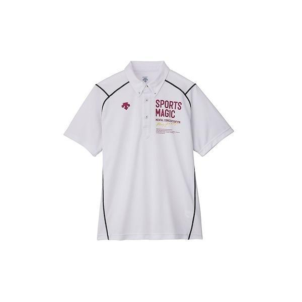 (セール)DESCENTE(デサント)バレーボール 半袖Tシャツ ポロシャツ DVB-4600 WHT