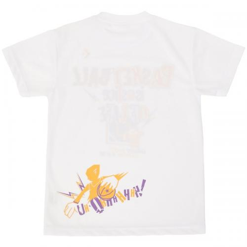 (セール)CONVERSE(コンバース)バスケットボール ジュニア 半袖Tシャツ 16SS SMU JRプリントTシャツ CBC461310-1156 ジュニア ホワイトxゴールド