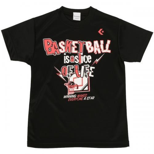 (セール)CONVERSE(コンバース)バスケットボール ジュニア 半袖Tシャツ 16SS SMU JRプリントTシャツ CBC461310-1900 ジュニア ブラック