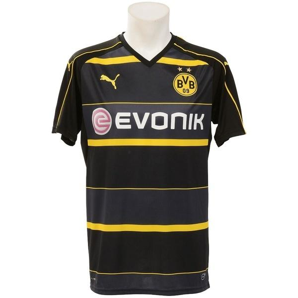 (セール)(送料無料)PUMA(プーマ)サッカー 海外クラブ ナショナルチーム BVB SSアウェイレプリカシャツ 74982302 メンズ ブラック/サイバー イエロー