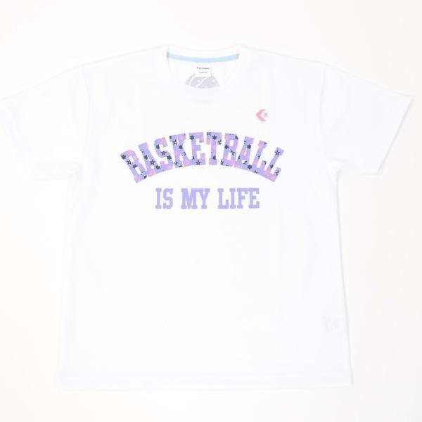 (セール)CONVERSE(コンバース)バスケットボール レディース 半袖Tシャツ ウィメンズプリントTシャツ CB361301-1172 レディース ホワイトxSKパープル