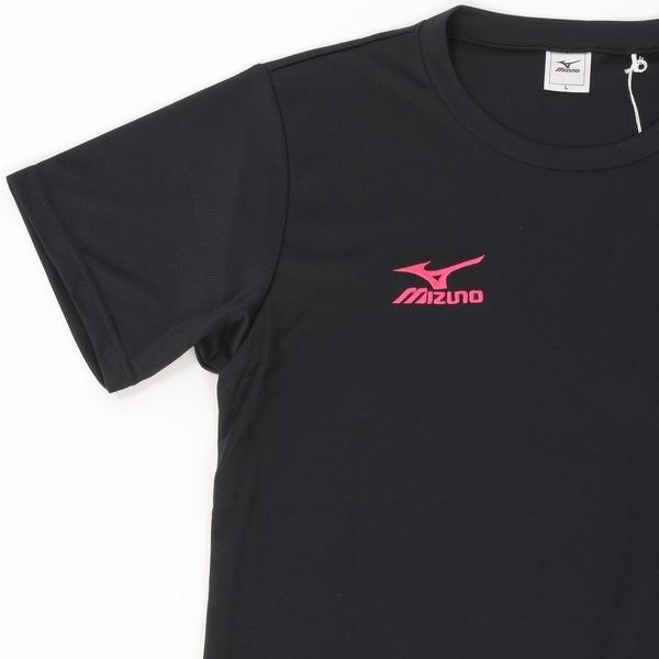 (セール)MIZUNO(ミズノ)バレーボール 半袖Tシャツ NC半袖プラクティスシャツ V2MA640297 ジュニア ブラックXマゼンタ