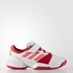 (セール)adidas(アディダス)テニス バドミントン ジュニアテニスシューズ KIDS COURT EL C オールコート JPS34 AQ4592 ランニングホワイト/フラッシュレッド S15/レイレッド F16