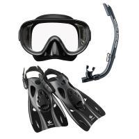 (セール)VIEW(ビュー)サマー レジャー シュノーケリング 高機能を全てに集約したシリコーン製のマスク・スノーケル・フィン3点セット RP0102 BK L L BK