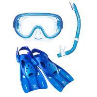 (セール)VIEW(ビュー)サマー レジャー シュノーケリング 高機能を全てに集約したシリコーン製のマスク・スノーケル・フィン3点セット RP0102 BL M M BL