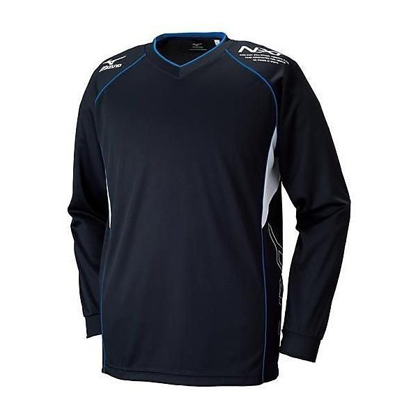 (セール)MIZUNO(ミズノ)バレーボール 長袖プラクティスシャツ プラクティスシャツ V2MA659092 ブラックxスカイダイバー