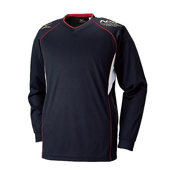 (セール)MIZUNO(ミズノ)バレーボール 長袖プラクティスシャツ プラクティスシャツ V2MA659095 ブラックxゴールド