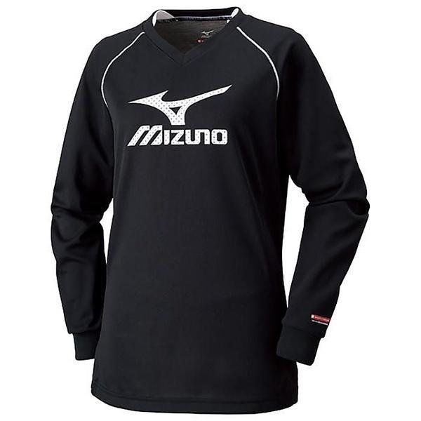 (セール)MIZUNO(ミズノ)バレーボール 長袖プラクティスシャツ ブレスサーモプラクティスシャツ V2MA679190 レディース ブラックxホワイト