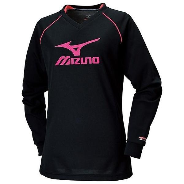 (セール)MIZUNO(ミズノ)バレーボール 長袖プラクティスシャツ ブレスサーモプラクティスシャツ V2MA679197 レディース ブラックxディーバピンク