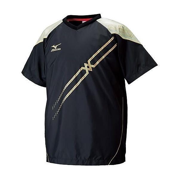 (セール)MIZUNO(ミズノ)バレーボール ウェア ムーヴウィンドブレーカーシャツ V2ME650295 ブラックxゴールド