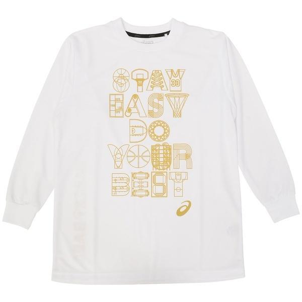(セール)ASICS(アシックス)バスケットボール ジュニア 長袖Tシャツ 16F JR PRINT T LS 09 XB345N.01A ジュニア WHT