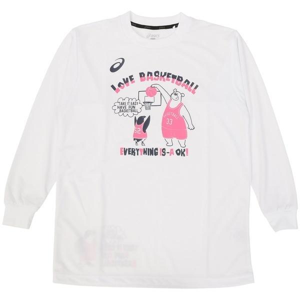 (セール)ASICS(アシックス)バスケットボール ジュニア 長袖Tシャツ 16F JR PRINT T LS 09 XB345N.01C ジュニア WHT