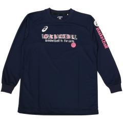 アシックス バスケットボール ジュニア 長袖Tシャツ 16F JR PRINT T LS 09 XB345N.50D ジュニア NVY