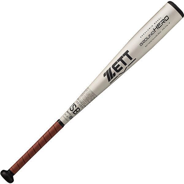(送料無料)ZETT(ゼット)野球 少年軟式メタルバッド JR.ナンシキアルミバット グランドヒーロー BAT74676 ジュニア シルバー/ブラウン