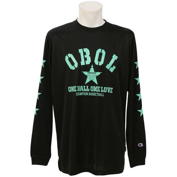 (セール)Champion(チャンピオン)バスケットボール メンズ 長袖Tシャツ PRACTICE LONG SLEEVE TEE C3-JB402 メンズ ブラックXミント