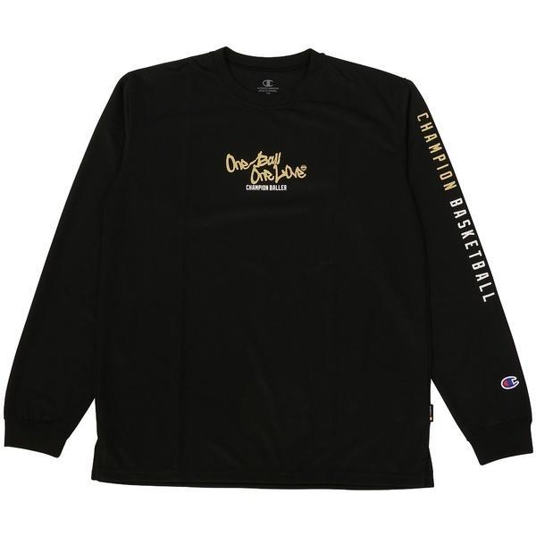 (セール)Champion(チャンピオン)バスケットボール ジュニア 長袖Tシャツ MINI LONG SLEEVE TEE CK-JB403 ボーイズ ブラックXゴールド