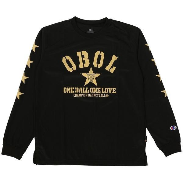 (セール)Champion(チャンピオン)バスケットボール ジュニア 長袖Tシャツ MINI LONG SLEEVE TEE CK-JB404 ボーイズ ブラックXゴールド