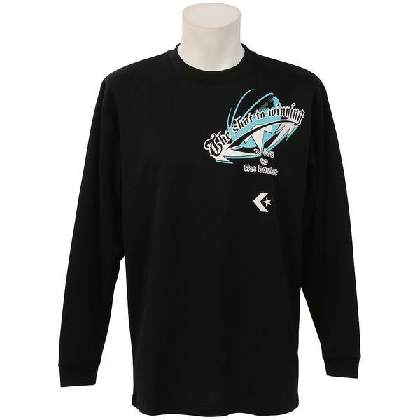 (セール)CONVERSE(コンバース)バスケットボール メンズ 長袖Tシャツ プリントロングスリーブシャツ CB262314L-1900 メンズ BLK