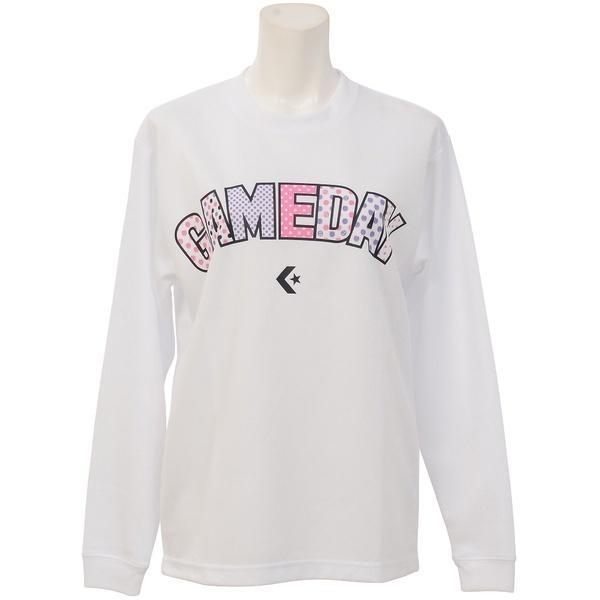 (セール)CONVERSE(コンバース)バスケットボール レディース 長袖Tシャツ ウィメンズプリントロングスリーブシャツ CBC362307L-1100 レディース WHT