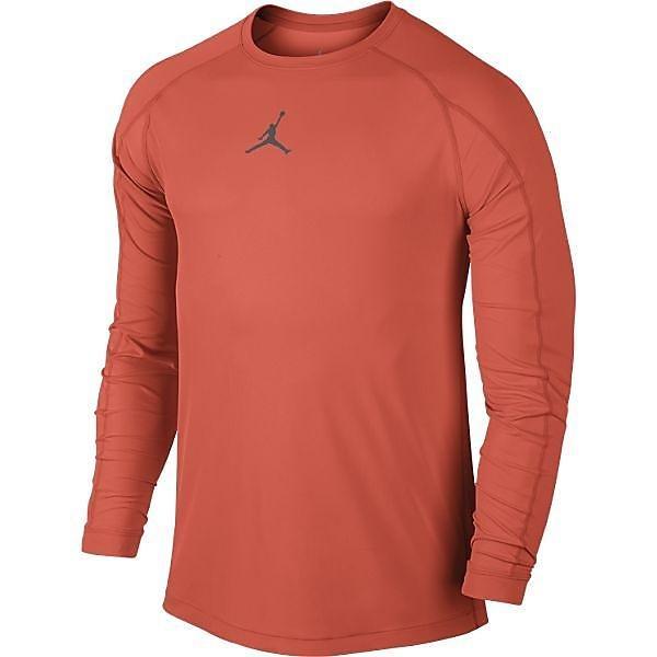 (セール)NIKE(ナイキ)バスケットボール メンズ 長袖Tシャツ ジョーダン DRI-FIT オールシーズン フィッテド L/S トップ 685815-842 メンズ ターフオレンジ/(ダークグレー)