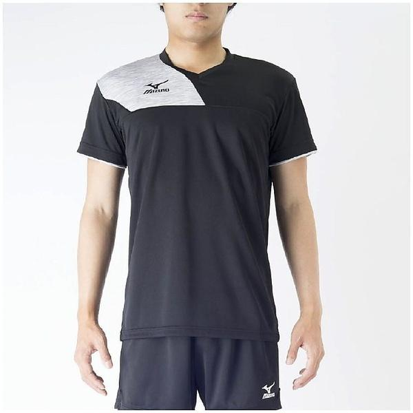 (セール)MIZUNO(ミズノ)バレーボール 半袖プラクティスシャツ プラクティスシャツ V2MA708299 ブラックXベイパーシルバー