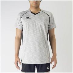 (セール)MIZUNO(ミズノ)バレーボール 半袖プラクティスシャツ プラクティスシャツ V2MA708304 ベイパーシルバーXブラック