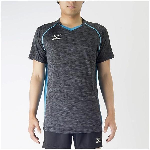 (セール)MIZUNO(ミズノ)バレーボール 半袖プラクティスシャツ プラクティスシャツ V2MA708392 ブラックXアトミックブルー