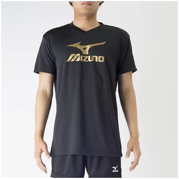 (セール)MIZUNO(ミズノ)バレーボール 半袖プラクティスシャツ プラクティスシャツ V2MA708795 ブラックXゴールド